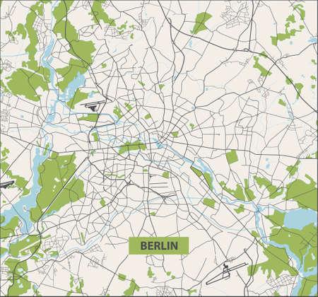Berlin street map. No text. Berlin city map - Germany. Vector illustration.