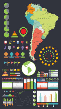 South America map and Infographics design elements. Business template in flat style for presentation, booklet, website and other creative projects. Иллюстрация
