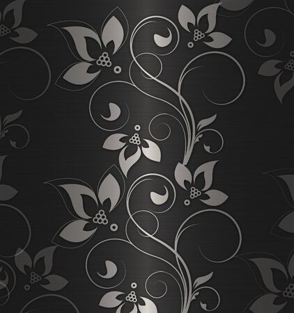 silver floral background Stock Photo - 9839370