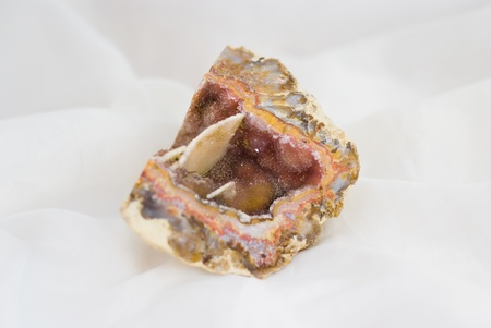 Raw natural agate with pink quartz Stock Photo - 9885785