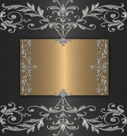 gold with platinum vintage on the black Stock Photo - 9870553