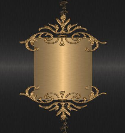 gold with black floral vintage
