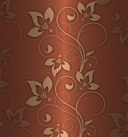 gold flowers on the red shine background Stock Photo - 9869347