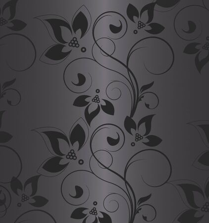 black floral on the grey Stock Photo - 9869230