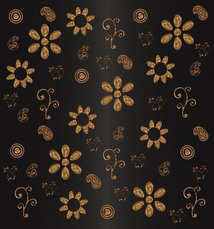gold flowers on black background Stock Photo