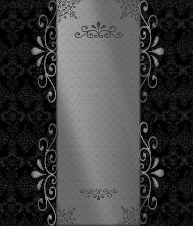 marca libros: Plata con fondo negro vintage