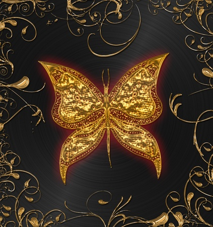 gold batterfly on the black floral  photo