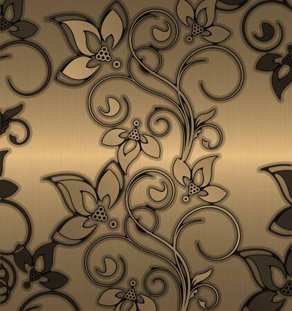 stitched: gold gflower pattern vintage