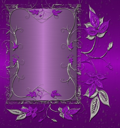 purple floral shine with silver background photo