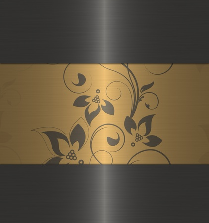gold with black floral vintage photo