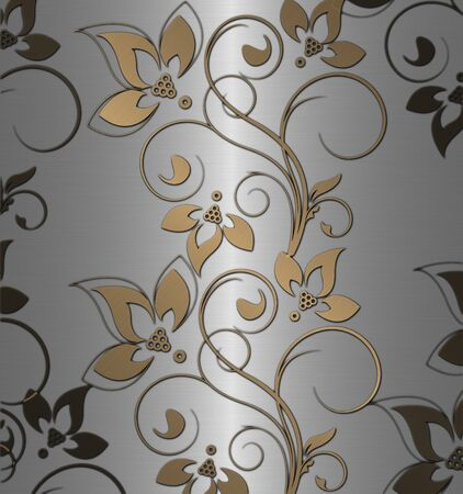 silver background: gold with silver floral vintage
