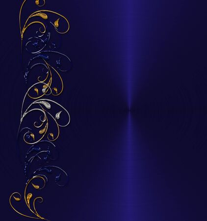 gold with silver floral on the blue background Stock Photo - 9756505