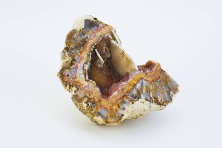 Agate with pink quartz isolated in white Stock Photo - 9755996