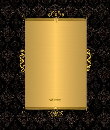 Gold Template On The Black Vintage Stock Photo, Picture And Royalty ...