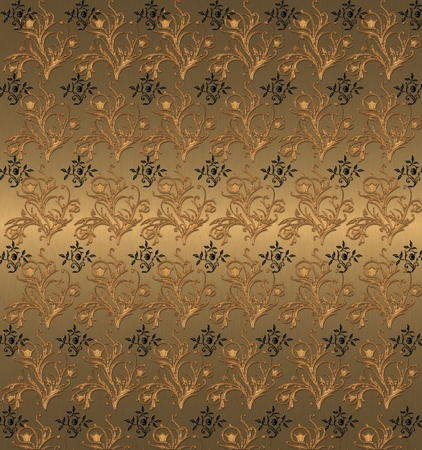 black end gold floral pattern on the gold background Stock Photo - 9756207