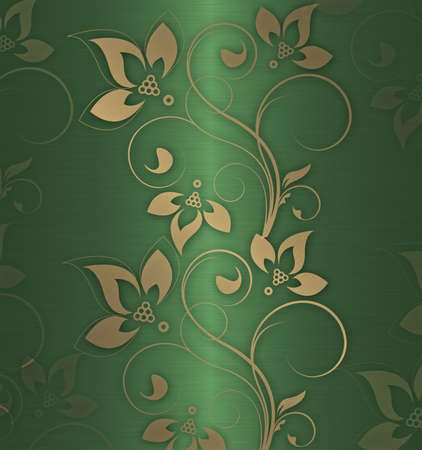 gold flowers on green background photo