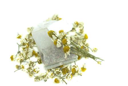 bag of chamomile tea on white background Stock Photo - 13964032