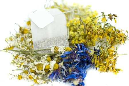 tea bag from mix herbs,cornflower,hypericum,immortele,and chamomile photo