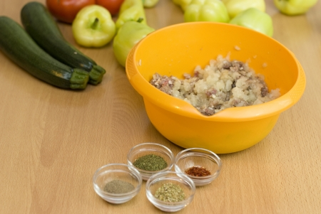 forcemeat: forcemeat with spices and rice for stuffing peppers Stock Photo