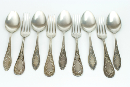 antique silver spoons and forks Stock Photo