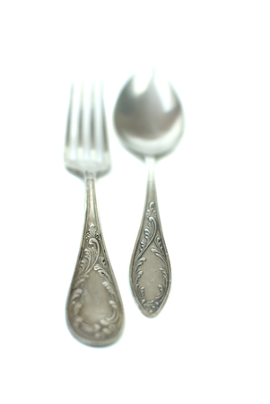 antique silver spoons and forks photo