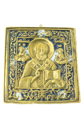 Russian old icon ancient brass