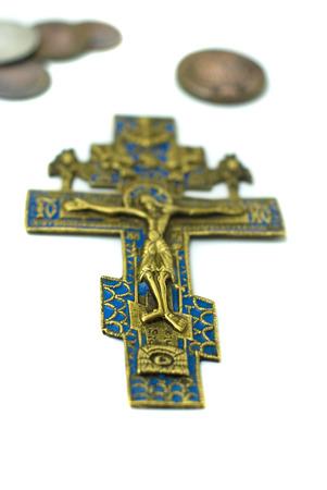 Russian antique brass cross Stock Photo