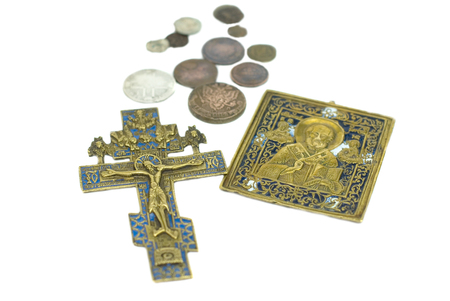Russian antique icon and cross ancient brass