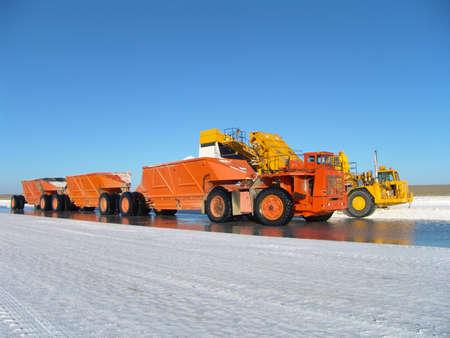 unloading: Truck on saline factory