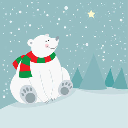Cute christmas holiday polar bear Vector