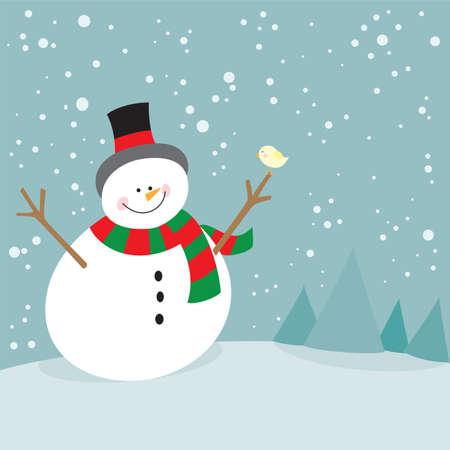 little bird: Mu�eco de nieve lindo de la Navidad y el pajarito Vectores
