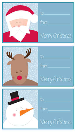Christmas gift cards set, santa, reindeer and snowman Vector