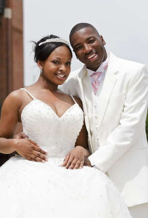 black couple: Great looking models in formal dress with copy space.