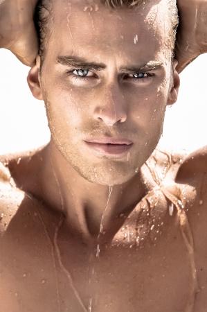 male hair model: Guy taking a shower in summer