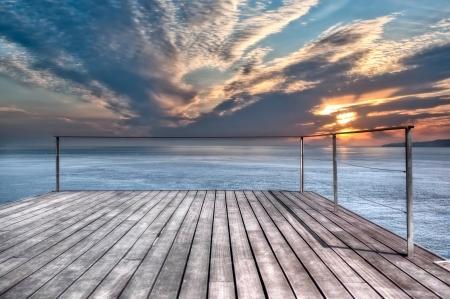 oceanfront: Oceanfront Terrace Stock Photo