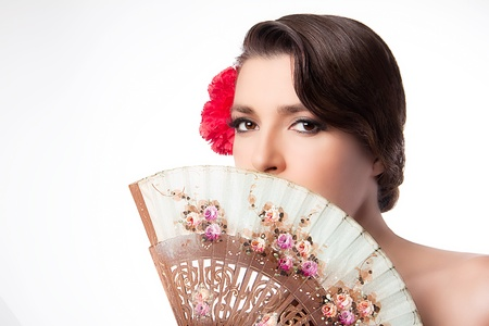 andalusian: Portrait of Andalusian woman with fan