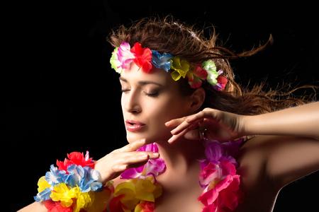 hula: Beautiful Luau Party Girl. Hula Dance. Flying Hair
