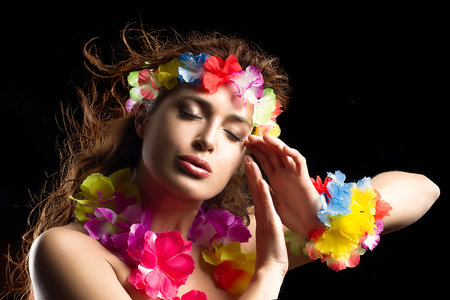 Beautiful Luau Party Girl. Hula Dance. Flying Hair photo