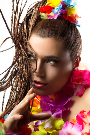 Beautiful Luau Party Girl. Exotic Hula Dancer. Flying Braiding Hair photo
