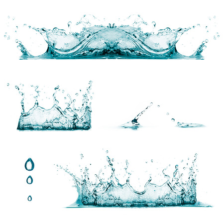 water flowing: Set of three water splashes and drops Stock Photo