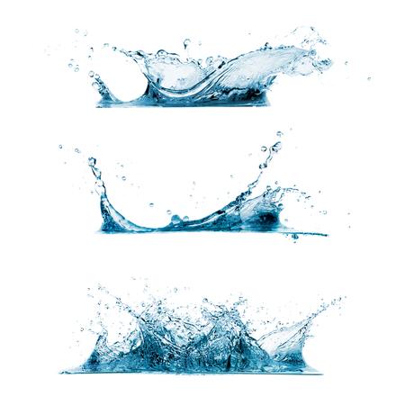 gota de agua: Conjunto de tres salpicaduras de agua Foto de archivo