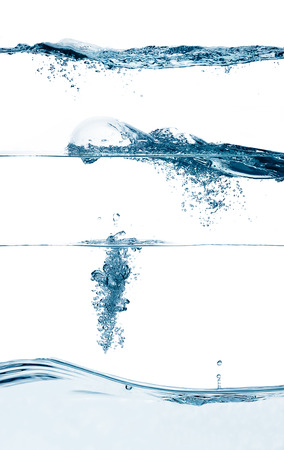 Set of three waterlines, splashes and drops Stock Photo