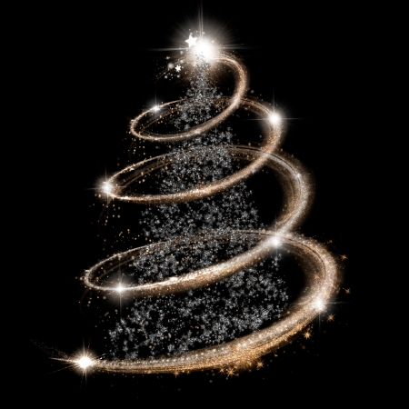 Elegant Christmas Tree In Silver And Gold Over Black Background Stock Photo    24098724