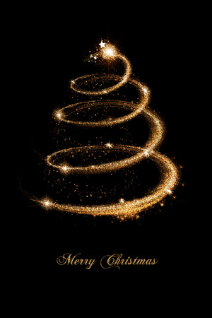 elegant christmas tree in gold over black background stock photo 24209273