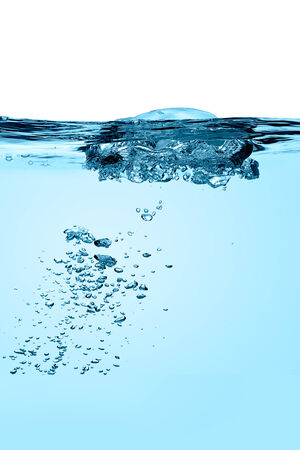 boiling: Closeup of Oxygen bubbles in boiling blue water with copy space