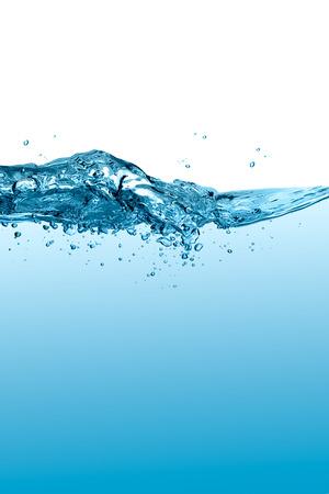 wasserlinie: Gesunde und frische Wasser. Blau Wasserlinie mit Wellen und Tropfen
