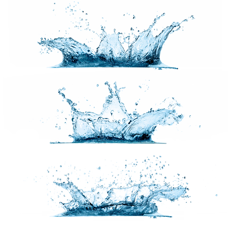 Set of three water splashes Stock Photo