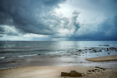 cadiz: Cloudy landscape on Valdevaqueros beach. Tarifa. Cadiz. Andalusia. Spain Stock Photo