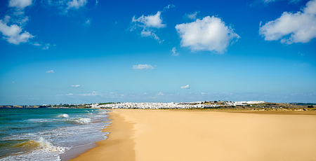 Panoramic view of Conil beach. Andalusia, Cadiz. South of Spain