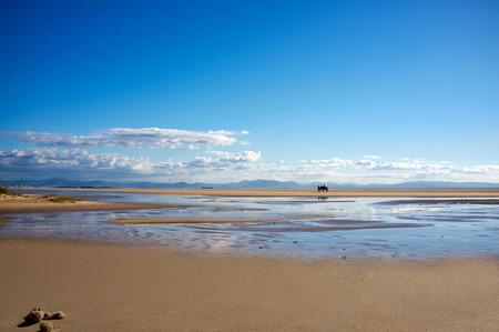 tarifa: Los Lances beach overlooking Tarifa and Africa Coast. Riding a horse along the beach. Andalusia landscape. Cadiz. Spain.